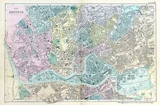 BRISTOL, 1901  -  Original double page Antique City Map / Plan , Bacon.