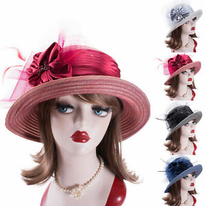 Organza Ribbon Womens Vintage Style Cloche Church Kentucky Derby Bridal Hat A583