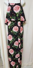 DOROTHY PERKINS DRESS Pink Floral On Black Size 14 (Uk 18 L) LARGE