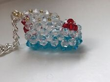 Baby bootee keyring - made with beads - blue