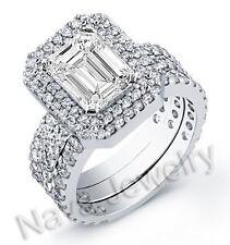 5.19 Ct Emerald Cut Diamond Ring w/ 2 Matching Band EGL