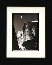 FRAMED moon and half dome by Ansel Adams BW photograph 10x8 Matted Art Print