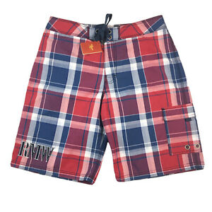 RM Williams Men's Kewarra Low Rise Sample Board Shorts Red Blue Size 34 NEW