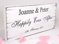 Happily Ever After Wedding Sign Personalised Plaque Vintage Shabby & Chic 04