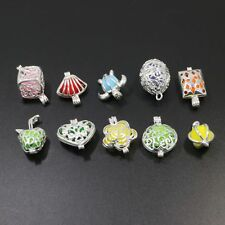 10pcs Mixed Heart Cube Waterdrop Silver Plated Bead Cage Hollow Charm Pendant