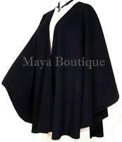 Black Cape Ruana Wrap Coat Wool Cashmere Blend by Maya Matazaro USA Made