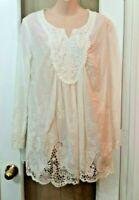 Womens Cindys Tao White Ivory Peasant  Wedding Bridal Shirt Lace Top Blouse M L