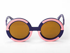 Sobo Sunglasses - Navy Blue and Pink with Mirror Gold Lens