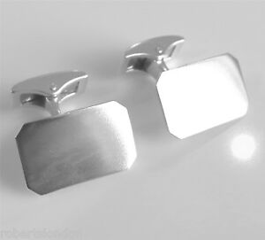 Solid 925 Sterling SIlver 17x11mm Rectangle Cufflinks Cuff Links Square Back