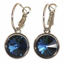 Swarovski Elements Crystal Harley Pierced Earrings Montana Blue Rhodium 7165x