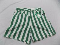 New Vintage Rockies Denim Shorts Green & White Stripes GEO High Waist Jr 13