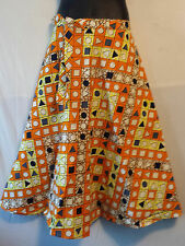 Wax Fabric Cloth wrap around Skirt Maxi African Vintage 70s Free size Print #20