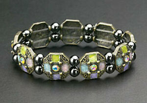 Magnetic Bracelet Healing Hematite Beads Multi-Color Enamel Crystal Stretch