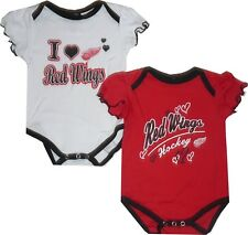 NEW Detroit Red Wings 2pc Girls Creeper Set Infant Baby 0/3 Month & 6/9 Month