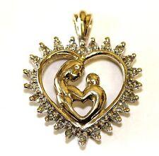 10k yellow gold .12ct VS H diamond mother child heart pendant charm 2.4g estate