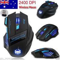 Adjustable 2400DPI Optical Wireless Gaming Game Ergonomical Mouse Mice Durable
