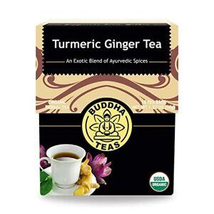 Buddha Teas Turmeric Ginger Tea 18 Bags Supports Digestion No GMOs Caffeine Free