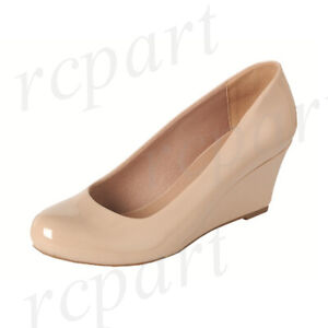 New girl's kids formal dress wedge wedding round close toe shoes Beige