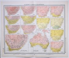 1899 LARGE WEATHER METEOROLOGY MAP ISOTHERMS SOUTH AFRICA SOUTH EAST AUSTRALIA