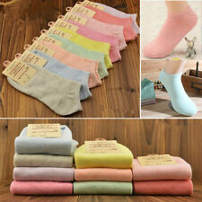 5 Pairs Women Candy Color Ankle Cute High Low Cut Cotton Socks Casual Sports