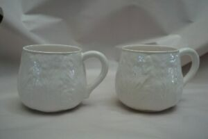 Lot Vintage Bordallo Pinheiro White Cabbage Leaf Shape Cups Portugal Ceramic Mug