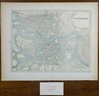 "Vintage 1900 ST PETERSBURG RUSSIA Map 14""x11"" ~ Old Antique Original HERMITAGE"
