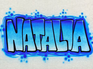Airbrush T Shirt, Name Design, Blue Block Letter Graffiti