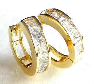 Unisex Men Women Huggie Hoop Earrings Cubic Zirconia 14mm 14K Yellow Gold Plated