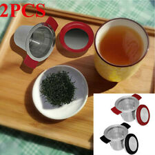 2Pcs Kitchen Utensils Tea Strainer With Lid (1Pc Black+ 1Pc Red)