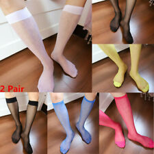 f3f0c9156 2 Pair Men s Sexy Nylon Silky Knee High Socks Wear Traceless Sheer Mesh  Stocking