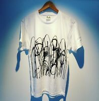 Hand screen printed tees with abstract image. The t-shirts are American Apparel.