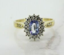 18ct Yellow Gold Ceylon Sapphire and Diamond Cluster Ring (Size O)