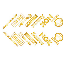 GOLD - Motorbike Belly Pan Sponsor Decals Stickers - SET OF 14 STICKERS