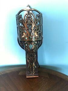 Vtg Lighting Art Deco  BRASS Bronze WALL SCONCE ELECTRIC LIGHT FIXTURE 1920's