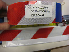 "WHITE RED Reflective Diagonal Stripe  Conspicuity Tape 1-3/4"" x 145'"