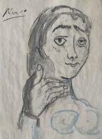 Picasso Hand Signed Original Graphite Watercolour Painting Portrait