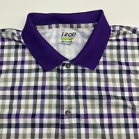 Izod Perform Golf Polo Shirt Men's 2XL XXL Short Sleeve Gingham 100% Polyester