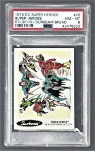 "1978 DC Super Heroes Stickers Sunbeam Bread ""Super Heroes"" #28 PSA 8 #43478623"