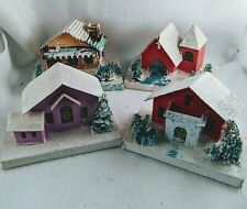 New listing Vintage 1930s-40s Cardboard Christmas Putz Houses In Good Condition