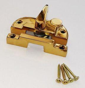 BOX OF 10 Sliding Sash Window Fitch Lock Gold / Brass Keyless & Screws SW11 UPVC