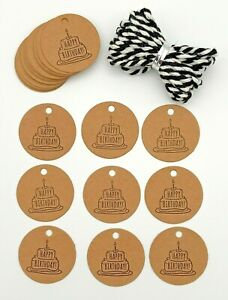 25 Happy Birthday Gift Tags Labels, Brown Birthday Cake & Black/White Cord 30mm
