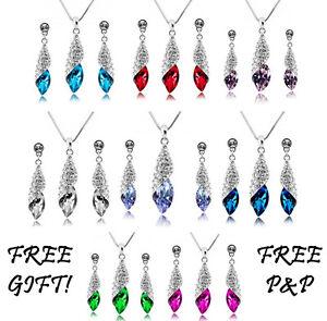 Crystal Rhinestone Pendant Necklace Chain & Earrings Wedding Jewellery Set PS001