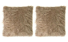 "Mongolian Faux Fur 18"" x 18"" Throw Pillows (2 Pillows) in Taupe"