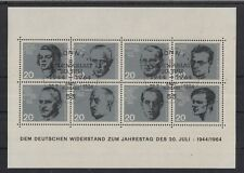 A 52 ) West Germany Bundespost 1964 Honor Resistance Nazis Souvenir Sheet