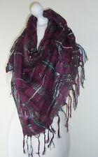 Dark Red Check Large Square Scarf Silver Lurex Thread 20% Cotton Lightweight
