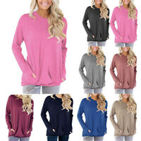Newest Women Casual Blouse Shirt Tops Long Sleeve Loose Pullover Pockets T-Shirt