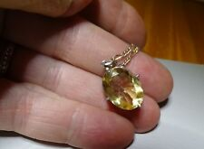 CITRINE PENDANT SET IN STERLING SILVER WITH STERLING SILVER CHAIN REALLY NICE!