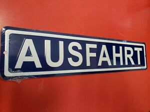 AUSFAHRT  Embossed Road Sign, Germany road sign, German collectible, Deutschland