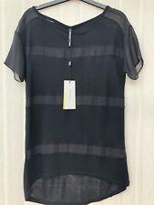 Karen Millen Black Mesh Striped Panelled Short Sleeved Tshirt Top Size 8 BNWT