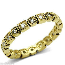 Ladies Gold Plated Clear Stones Eternity CZ Ring Size 8